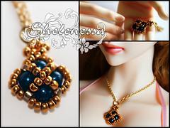"Кулон ""Глубокое синее море"" (Diana Samoilenko) Tags: bjdjewelry handmade pendant jewelry swarovski miyuki beads"