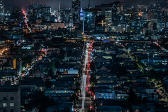 traffic hub (pbo31) Tags: sanfrancisco city california night dark color urban april 2019 boury pbo31 nikon d810 bernalheights park skyline lightstream traffic motion southvannessavenue over view black fog marine layer