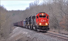 Southbound Taconite Train (Images by A.J.) Tags: train railroad railway transportation taconite ore iron steel cn canadien canadian national bessemer pennsylvania saxonburg emd