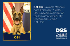 Meet K-9 Obiwan (Diplomatic Security Service) Tags: departmentofstate canines dogs policedogs uniformedprotectiondivision explosivedetectiondogs