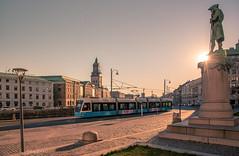 Morning Light (Fredrik Lindedal) Tags: tram city statue gothenburg göteborg light sun church streetview street streetvision sky skyline lindedal
