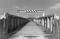 FOOTBRIDGE OVER RAILWAY, S YORKSHIRE_DSC_3348_LR_2.5 (Roger Perriss) Tags: aston d750 blackandwhite monochrome mon structure bridge girders steel
