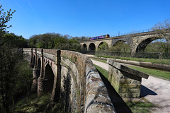 AQUEDUCT & VIADUCT (fenaybridge) Tags: pacer 142 canal peakforestcanal marple aqueduct viaduct 143 arriva northern canalswaterwaystrust