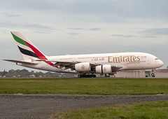 Emirates Airlines A6-EUE (Scottish Photography Productions | David Pollock) Tags: a6eue airbus a380 super jumbo emirates ek025 026 027 028 glasgow abbotsinch international airport egpf gla scotland sunset press pr commercial aviation