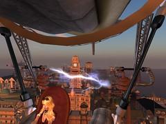 Far Above The Clamor :: New Babbage Sunset (Cherie Langer) Tags: steampunk airship pilot zeppelin blimp sunset city