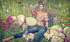 *If you see a bunny laying little brown eggs, don't eat them, it's not chocolate!* ❤ (Ⓐⓝⓖⓔⓛ (Angeleyes Roxley)) Tags: mr rabbit gacha set fashiowl poses redeux event mainstore sl secondlife single female bento rare common bunnies clover
