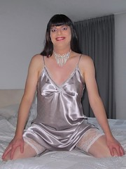 Silver smile (Paula Satijn) Tags: sexy hot girl babe satin silk shiny nightdress nightie bed gurl tgirl lady play sweet cute soft happy smile joy fun silver chemise slip tranny legs stockings sensual necklace bedroom