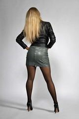 Anna 175 (The Booted Cat) Tags: sexy long blonde hair girl model woman ass pantyhose nylon nylons leather miniskirt jacket heels pumps highheels