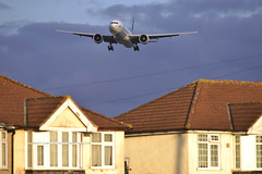 Cathay 777 & Myrtle Rooftops (Infinity & Beyond Photography: Kev Cook) Tags: cathay pacific airlines boeing 777 777300 b777 aircraft airplane airliner london heathrow airport lhr myrtle avenue ave photos planes houses