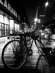 Rainy night on Rue Notre-Dame 2 (Montreal) (MassiveKontent) Tags: street contrast noiretblanc blackwhite blancoynegro montreal sainthenri bw city monochrome urban blackandwhite streetphoto montréal quebec streetphotography bwphotography streetshot android absoluteblackandwhite mono road cars night nightshot cityatnight streetlights bike bicycle