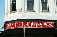 Ford Hopkins Drug Store - Macomb, Illinois (Cragin Spring) Tags: illinois il drugstore drugs tearoom building window oldbuilding red sign oldsign neon neonsign vintage vintagesign fordhopkinsdrugstore macomb macombil macombillinois