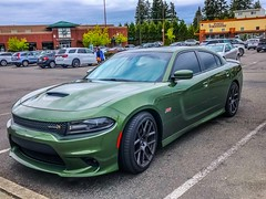 Dodge charger scat pack (Thunderstormnightmare) Tags: sky clouds cool thursday spring april parkinglot outdoor outside challenge unlimitedpictures unlimitedphotos scatpack dodgecharger darkgreen tree car beautiful pretty green
