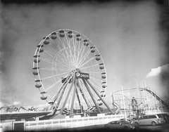 Pepsi - New55 negative (thereisnocat) Tags: new55 speedgraphic instant ferriswheel pepsi rollercoaster boardwalk beach shore oceancity maryland md roidweek roidweek2019 negative