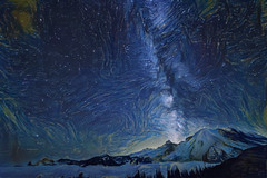 Starry Skies (jbarc in BC) Tags: starry stars milkyway mountrainier abstract mountain astronomy valley night longexposure clouds trees forest view glacier summer cold galaxy vangogh starrynight impressionism