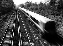 vanishing point (amazingstoker) Tags: train hampshire perspective basing motion old vanishing point tracks blur waterloo basingstoke lines straght bsk wat 1542 monochrome black white third rail