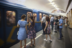 Kyiv metro transports 1.38 million travelers a day (B℮n) Tags: київ kyiv kiev ukraine киев kiëv oekraïne dnjepr dnipro hidropark viewpoint historical treasures river green park bridge rusanivskastrait dnieper eternalglorypark brovary road highway traffic cars 50faves topf50 maidan euromaidan orange revolution independence square europe centre history viktor janoekovytsj україна saint vladimir monument national landmark metro subway арсенальна київський метрополітен ки́ївський метрополіте́н rushhour 100faves topf100