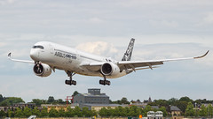 Airbus A350-100 XWB Demonstrator. (spencer_wilmot) Tags: a350 a350100 demonstrator carbonfibre twin arrival landing farnborough eglf fab fabeglf fia2018 farnboroughinternationalairshow farnboroughairshow airshow aviation aircraft airplane airliner airport airside apron approach airbus commercialaviation civilaviation display heavy ils jet jetliner landinggear plane passengerjet ramp runway widebody winglets blendedwinglets massive a350100xwb xwb