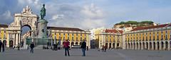 Praca do Comercio (albyn.davis) Tags: buildings architecture travel lisbon portugal europe people plaza statue panorama color yellow