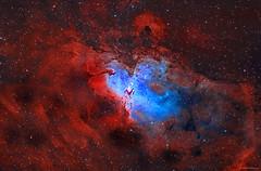 The Eagle Nebula (M16) (Martin_Heigan) Tags: eaglenebula messier16 m16 ngc6611 astronomy ha oiii narrowband astrograph telescope hydrogen deepsky dso space science physics mhastrophoto spectrum pillarsofcreation gasanddust pixinsight0108061457pcl0201110938 astrophotography deepspace haoiii hii spaceart astroimaging abstractuniverse universe cosmos platesolve2 hα wavelengthsoflight spectralline electromagneticspectrum capturingphotons nebula light starstuff diffuseemissionnebula starformation amateurastronomy southernhemisphere astronomicalimageprocessing artofscience artandscience hoo hoopalette bicolor bicolour stardust