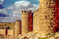 The Ancient City of, Avila, Spain - Medieval City Walls (D. Davila) Tags: avila spain wall walls towers stone sky clouds city ancient history historical landmark architecture