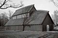 The Viking Hall (Geir Bakken) Tags: viking vikings hall building architecture replica largeformat 4x5 4x5camera 4x5film blackandwhite bw film filmisnotdead filmphotography filmcamera analog analogue analogphotography vintagecamera vestfold borre horten fomapan fomadon linhofcolor linhof computar symmetrigon