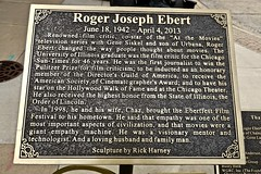 Roger Ebert, Champaign, IL (Robby Virus) Tags: champaign illinois il roger ebert critic atthemovies siskel gene plaque sculpture statue