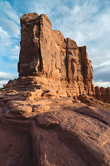 A sandstone column among many (colincromar) Tags: utah desert redrock rock sandstone adventure outdoors landscape vista view orange clouds golden hour wide angle zeiss 1635 a7iii sony alpha stone formation camping outside glow sky