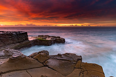 Skies Light Up Seascape (Merrillie) Tags: daybreak sunrise northavoca nature water nsw centralcoast overcast rocky sea newsouthwales waves earlymorning morning rocks landscape ocean cloudy waterscape avocabeach coastal dawn outdoors seascape australia coast northavocabeach sky