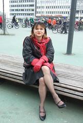 Kassel main station (Marie-Christine.TV) Tags: feminine transvestite lady mariechristine leather coat leatherskirt gloves lederrock ledermantel lederhandschuhe dame tgirl tgurl kassel visitor city elegant sitting pretty