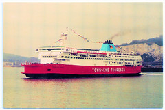 Townsend Thoresen - M.V. Pride of Dover in 1987. And a 'Disease of Sloppiness'. (pepandtim) Tags: postcard old early nostalgia nostalgic townsend thoresen world ship society medway pride dover 02061987 1987 maiden voyage calais schichau unterweser bremerhaven passengers 98twn54 thought factory hastings road leicester po