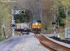 G691 south on the Keyhole side of the Twin Tunnels on the Clinchfield. (Railroad Gal) Tags: csx csxg691 graintrain railroadcrossing railroad railfan railfanning femalerailfan appalachianmountains clinchfield
