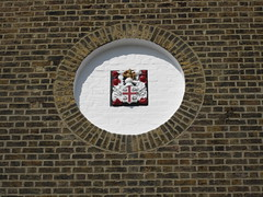 Trinty House Coat of Arms on Electricians Shop (Thames Discovery Programme) Tags: thamesdiscoveryprogramme thames foreshore fth24 trinitybuoywharf trinity house communityarchaeology archaeology towerhamlets fieldwork london