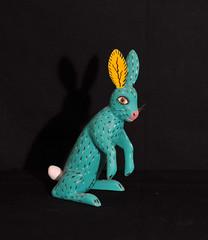 Conejo Verde Green Rabbit Oaxaca Mexico (Teyacapan) Tags: woodcarvings alebrijes mexico oaxaca launion sergiosantos conejo rabbit folkart