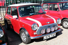 1994 Rover Mini Cooper L576TAP Brooklands Mini Day March 2019 (davidseall) Tags: 1994 rover mini cooper car l576tap l576 tap classic original old shape style great british red brooklands day march 2019 weybridge surrey uk