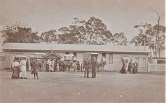 Railway Station at Pialba, Qld - 1911 (Aussie~mobs) Tags: vintage queensland australia pialba railwaystation passengers transport buggy 1911 carriage vehicles