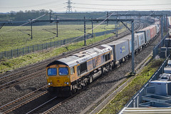 66716, Lichfield Trent Valley ---''GBRf Class 66 66716 The Locomotive & Carriage Institute 1911-2011 passes northbound through Rugeley Trent Valley on Saturday 25th March 2017 with the 0315 Felixstowe North to T'' (JH Stokes) Tags: 66716 class66 gbrf globalbritishrailfreight lichfieldtrentvalley wcml westcoastmainline trains trainspotting tracks transport railways locomotives photography