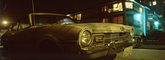 Ford Comet (Orion Alexis) Tags: film 35mm analog panorama widescreen cinematic ford comet classic car old retro vancouver kodak ektachrome e100 slide night