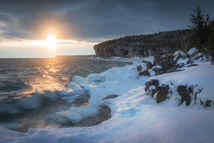 warm sunrise - web (andrewpmorse) Tags: brucepeninsula brucepeninsulanationalpark nationalpark nationalparks ontario ontarioparks lake lakehuron waves sunrise morning cold winter spring ice snow reflection canon canon5dmarkiv canada 5dmarkiv 5div 2470f28lii