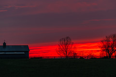 After the rain, the red (sniggie) Tags: lebanon marioncounty farm sunset barn weathervane weathercock