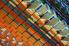 Escape Pods (♫ marc_l'esperance) Tags: building geometry abstract geometric abstraction orange red brown shades lines angles condominium construction vancouver bc marclesperancephoto vintagelens manualfocus manualexposure carlzeissjena135mmf35 sonnar carlzeissjena 135mm