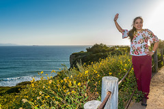 Me Waving from the Ocean Trails Reserve at Trump National Golf Club - Los Angeles in Rancho Palos Verdes, CA. (SCSQ4) Tags: california christineho easter fence happy hikingtrail losangeles ocean oceantrailsreserve ranchopalosverdes superbloom tripodselfie trumpnationalgolfclub waving wildflowers