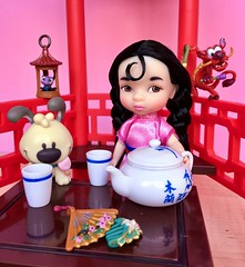 Mulan's Tea Time with Friends (honeysuckle jasmine) Tags: girl baby barbie tea dolls doll mulan disney disneyprincess