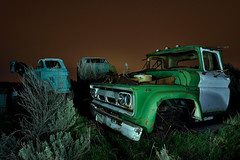 chevy tough. 2015. (eyetwist) Tags: eyetwistkevinballuff eyetwist night chevy chevrolet truck pickup wreck junkyard cold dark longexposure long exposure clouds overcast fullmoon desert nikon nikond7000 d7000 nikkor capturenx2 1024mmf3545g 1024mm photography tripod npy nocturne lightpainting flashlight highdesert americana americantypology american typology abandoned ruin desolate lonely car cars autos classic rust rusty junk wrecked derelict decay dented patina faded vintage idaho door weeds goat viking