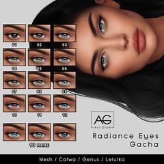 Radiance Eyes Gacha (Avi-Glam) Tags: mesh catwa lelutka genus appliers second life eyes sl