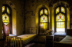 (Rodney Harvey) Tags: abandoned church north saint louis missouri urbex urban decay exploration stained glass windows beds dying bed peeling paint yellow
