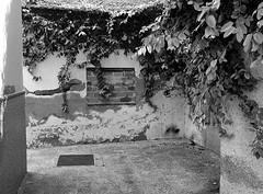Pedregalejo facade (Tastwo) Tags: 2019 spain malaga pedregalejo wall bricks brickedup window decay foliage plaza street bw infra blackandwhite monochrome tastwo tastwophotography outdoor