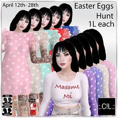 :.C!L.: Easter Eggs Hunt is on! (:.C!L.: Boutique) Tags: secondlife slfashion fashion women dress crop top mesh maitreya standard avatar hunt easter prize 1linden egg dollarbie easy fun cl polkadot madame moi