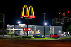 McDonald's (ezeiza) Tags: oklahoma ok muskogee mcdonalds goldenarches golden arches fastfood fast food restaurant building door sign drivethrough drivethru drive through thru car automobile auto night tree trafficsignal traffic signal light us highway 62 64 69 us62 us64 us69 acura tsx