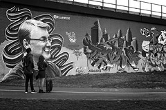 Rest in Peace Pow! (garryknight) Tags: sony a6000 on1photoraw2018 london themonoseries monochrome blackandwhite street candid man woman photographer streetart graffiti memorial rip