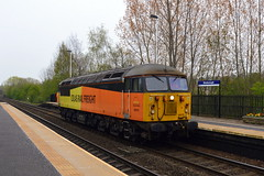 Colas Rail 56078 enters Mexborough station with the 0C77 Barnetby Sidings to Toton loco move, 16th April 2019. (Dave Wragg) Tags: 56078 class56 grid colasrail 0c77 mexborough loco locomotive railway